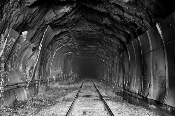 Hoosic Tunnel looking into the five mile long tunnel from the east portal